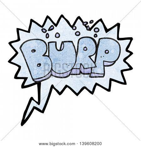 freehand speech bubble textured cartoon burp text poster