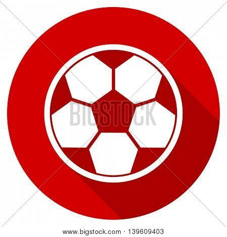 soccer red vector icon, circle flat design internet button, web and mobile app illustration