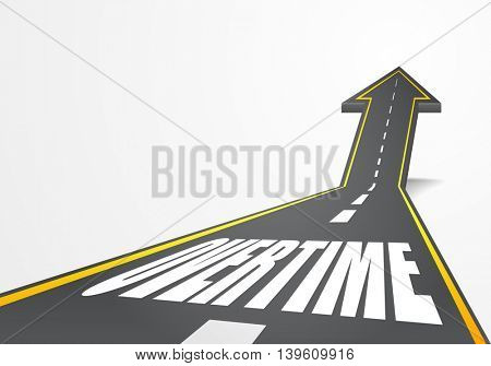detailed illustration of a highway road going up as an arrow with Overtime text, eps10 vector