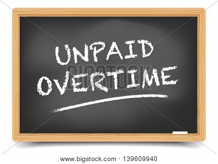 detailed illustration of a blackboard with Unpaid Overtime text, eps10 vector, gradient mesh included
