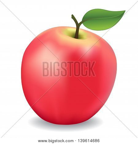 Apple, pink fresh, natural, orchard garden fruit isolated on white background.