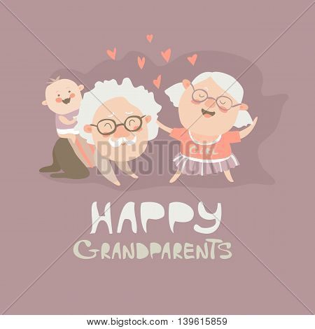 Happy grandparents playing with their grandson. Vector illustration