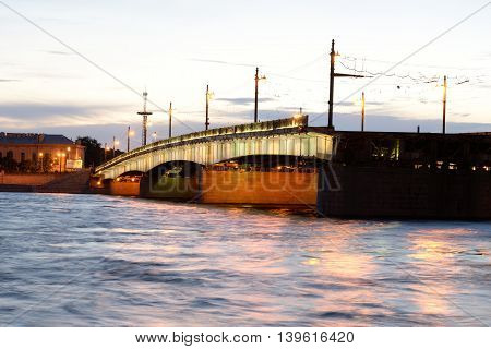 Foundry Bridge and Neva River in St.Petersburg before sunrise. Russia.