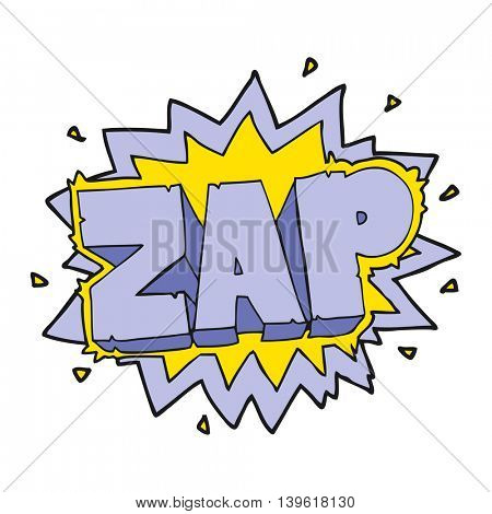 happy freehand cartoon zap explosion sign