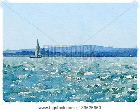 A digital watercolor painting of a sailing boat in the sea with its sails up and land in the background. With space for text.