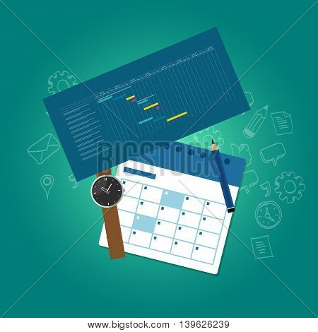 planning and scheduling time calendar timeline gantt chart vector