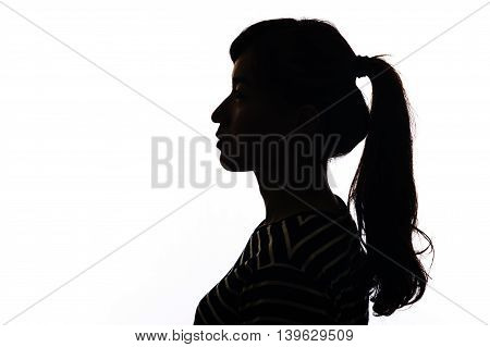 Silhouette woman portrait concept of unknown anonymous unnamed etc