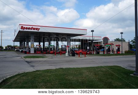 SHOREWOOD, ILLINOIS / UNITED STATES - AUGUST 30, 2015: One may purchase gasoline at the Speedway gasoline station in Shorewood.