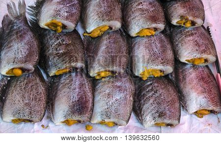 The gourami fish dried by the heat of the sun.