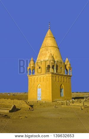 Sufi Mausoleum in Omdurman Sudan under blue sky