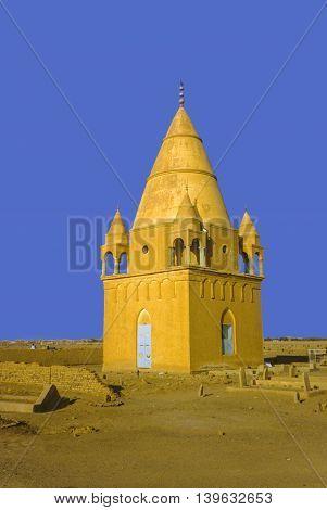 Sufi Mausoleum in Omdurman Sudan under blue sky poster