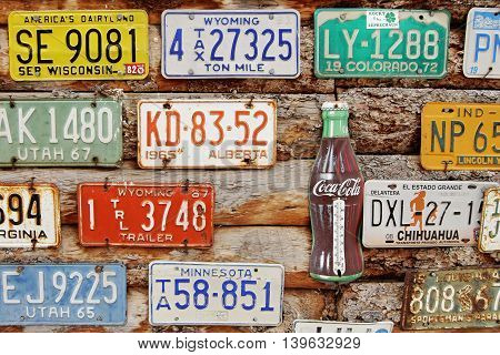 American Historical automobile license plates. Museum Hole in the Rock, Utah, USA. May 13, 2016