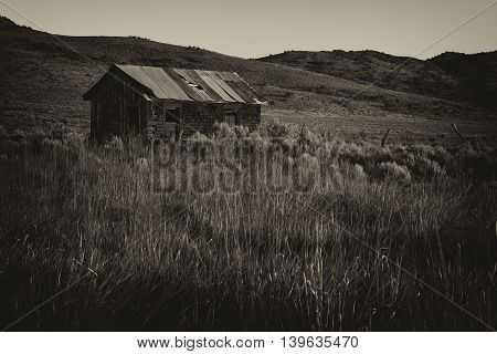 Old abandon building in a mountain meadow.  Post processed in a yellowed black and white style to look antique fitting the mood of a turn of the century homestead.