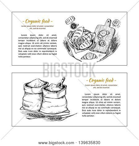 Hand Drawn Vector Flyers - Bakery Shop. Basket With Pastry. Sacks Of Flour And Grain. Sketch
