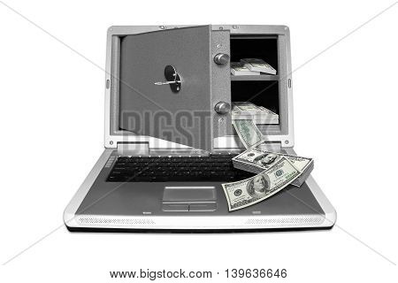 photography with scene of the computer and safe with money to subjects of the work in internet and electronic purse