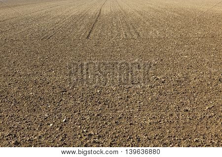 freshly ploughed field in spring before the sead