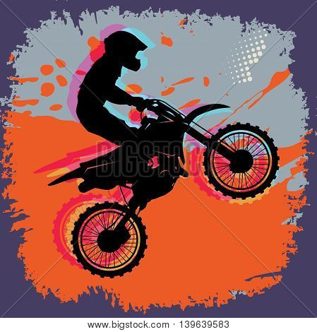 Motocross jump abstract color background, vector illustration
