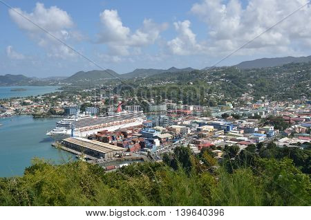 CASTRIES ST LUCIA CARIBBEAN: 19 January 2015: Overlooking Town of Castries capital of St Lucia