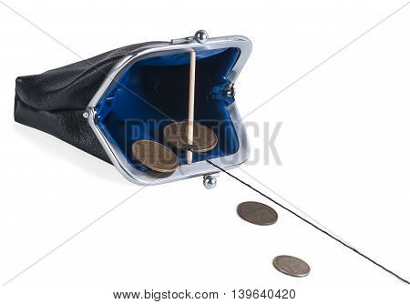 open trap purse with coins isolated on white background