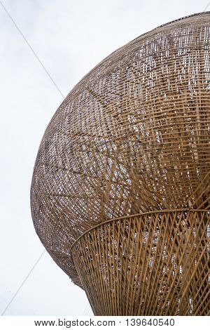 Handmade giant bamboo monk's alms bowl stock photo