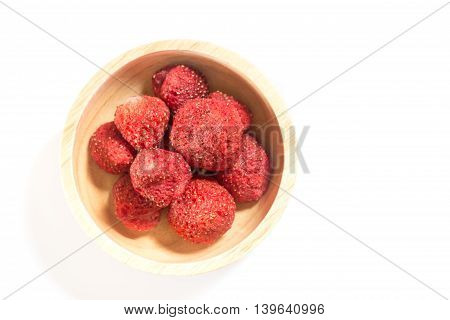 Healthy strawberry crispy isolated on white background stock photo