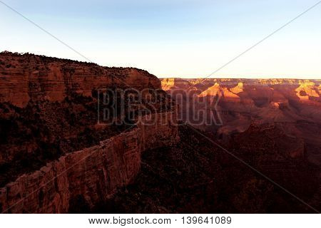 Valley at Grand Staircase in Grand Canyon National Park Utah in winter