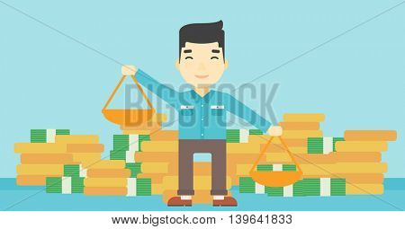 An asian young businessman holding scales in hands on a blue background with stacks of coins. Vector flat design illustration. Horizontal layout.