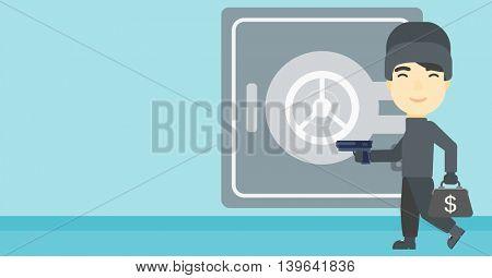 An asian  burglar in mask near the big safe door. Burglar holding hand gun and a bag with dollar sign. Thief stealing money. Vector flat design illustration. Horizontal layout.
