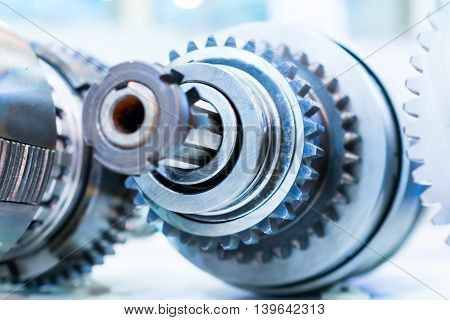 Gears, impaled on the shaft spline. Friction clutch machine tool.