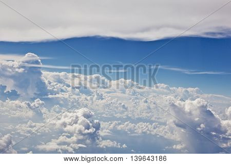 harmonic puffy white cloud with blue sky