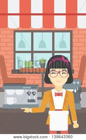 An asian  young female barista sanding in front of coffee machine. Barista at coffee shop. Professional barista making a cup of coffee. Vector flat design illustration. Vertical layout.