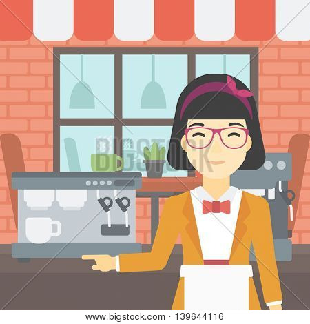 An asian young female barista sanding in front of coffee machine. Barista at coffee shop. Professional barista making a cup of coffee. Vector flat design illustration. Square layout.