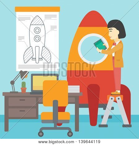 An asian  woman standing on ladder and engeneering a rocket. Woman working on the start up of a new business. Business start up concept. Vector flat design illustration. Square layout.