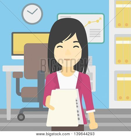 An asian young business woman giving a resume in office. Woman giving to the employer her curriculum vitae. Job interview concept. Vector flat design illustration. Square layout.