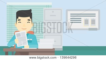 An asian  young human resources manager reading application portfolios in the office. Concept of recruitment of staff, job interview. Vector flat design illustration. Horizontal layout.