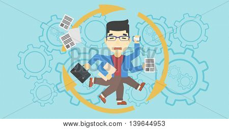 An asian businessman with many legs and hands holding papers, briefcase, smartphone. Multitasking and productivity concept. Vector flat design illustration. Horizontal layout.