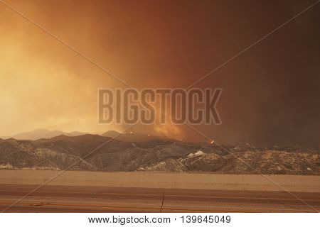 Sand Fire engulfing the northeast side of 14 freeway in Santa Clarita area on July 23 2016.