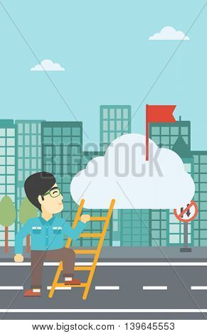 An asian young businessman climbing up the ladder to get the red flag on the top of the cloud on a city background. Vector flat design illustration. Vertical layout.