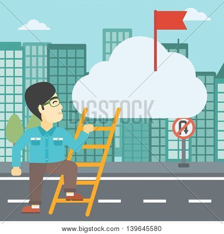 An asian young businessman climbing up the ladder to get the red flag on the top of the cloud on a city background. Vector flat design illustration. Square layout.