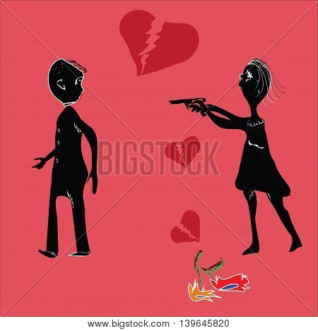 Illustration of a woman pointing a gun at man who is leaving, concept of stress in relationship, isolated on red