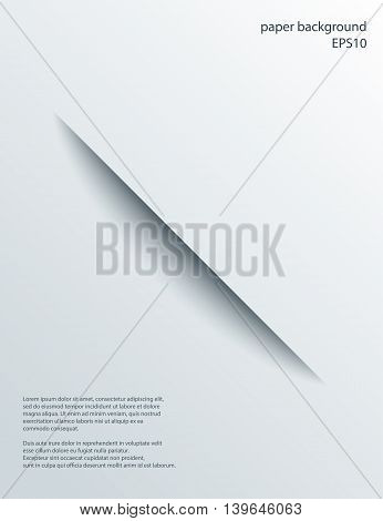 Diagonal Cut in paper with shade. Vector abstract background. 3d incision.