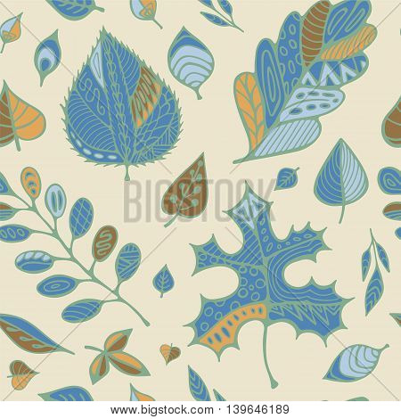stock vector hand drawing set of leaf.seamless doodle pattern