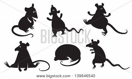 Set with silhouettes of fancy domestic rats