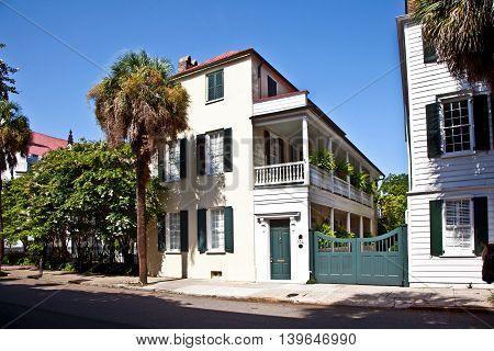 CHARLESTON, USA - JUNE 3, 2014: White Southern Mansion house in Charleston, USA