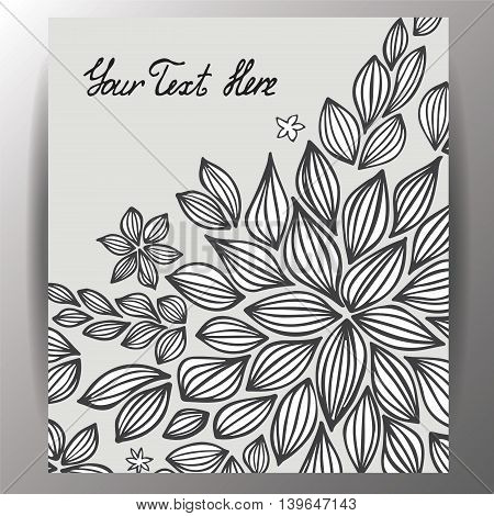 stock vector template for brochure card cover book invitation with doodle leaf.