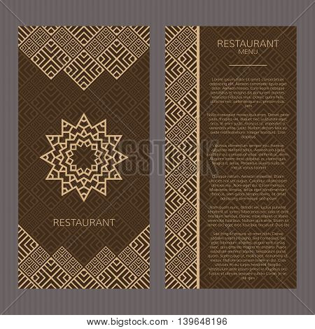 Set of abstract vector cards. Two vector templates with elegant oriental design. Vector menu cards. Vector templates for restaurant menu. Vector menu templates in luxury style.