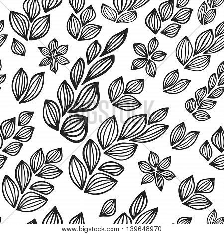 stock vector abstract leaf and flowers elements set. summer design elements for template. wave background seamless pattern