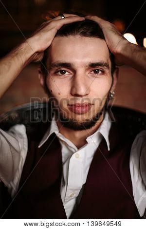 Headshot Of Authentic Bearded Man
