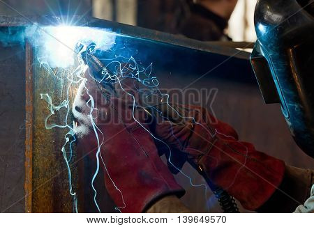 Semi-automatic Welding With Sparks And Smoke