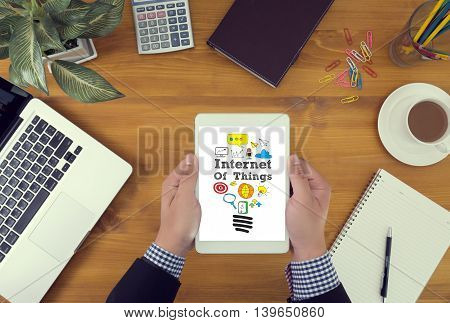 Businessman Youch Digital Tablet, Internet Of Things (iot) Concept